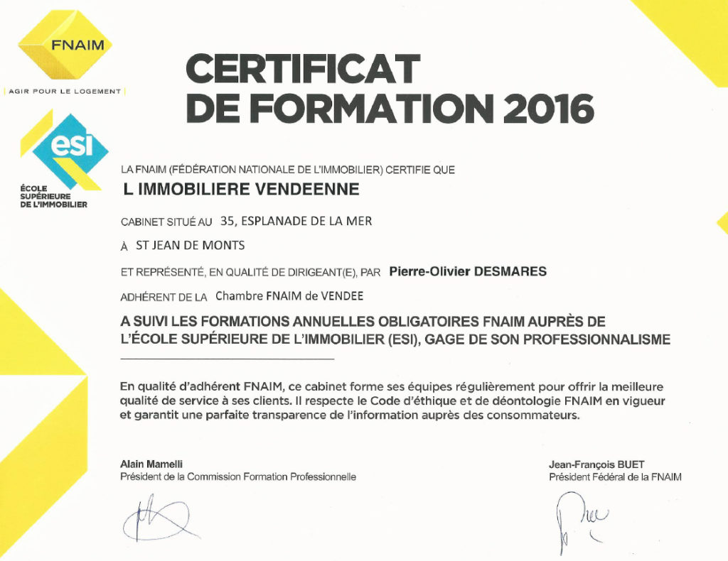 certificat-formation-2016-fnaim-agence-limmobiliere-vendeenne-vendee